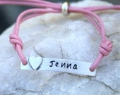 Cross or Heart - Personalized - Sterling Silver and Leather ID Bracelet - Communion/Confirmation/Girls