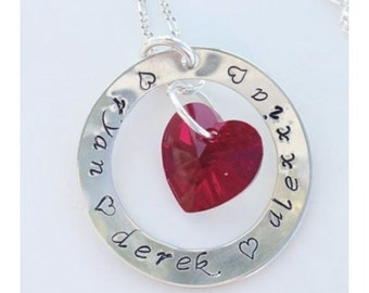 Personalized Hand stamped Mother's Heart Necklace