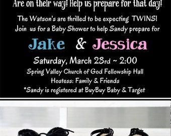 BOY and GIRL TWIN Baby Shower Invitations