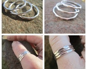 Stack Ring Set -Three Sterling Silver Hammer Faceted Bands
