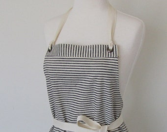Full Apron Hemp Cotton Indigo Stripes