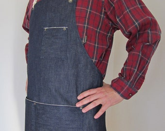 Denim Apron Man-  Cone Mills- Selvedge Denim-Red Line Selvage-Utility-Crafts-Gardening-Man