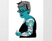 Illustrated Tattoo Lady Giclee print, wall art A4 210mm x 297mm