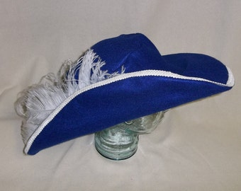 Blue Cavalier- Classic Musketeer Style Hat with White Trim and Feathers