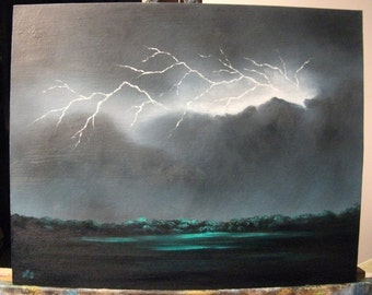 Lightning Storm At Night, Field, Tree, Clouds, Rain, Dark, Weather, Original Landscape Oil Painting