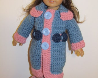 Sale! Pattern 64 Fits American Girl or Similar Doll Coat Set (permission to sell finished item)