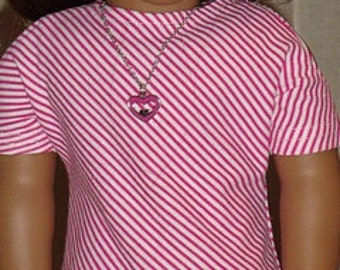 Pink & White Striped Open Shoulder Dress For American Girl Or Similar 18-Inch Dolls