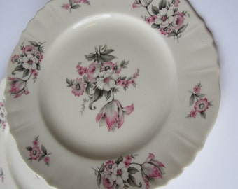 Vintage Aberdeen Moss Rose Pink Gray Salad Plates Set of Four