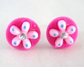 Strawberry Cupcake Flowers - Stud Earrings by berrysweettreats on Etsy