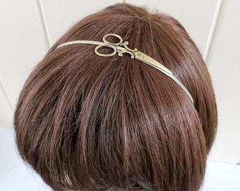 Steampunk Scissor Headband- Silver Headband with Brass Scissors- Brass Finish