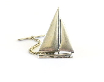 Sailboat Tie Tack- Sterling Silver Ox Finish- Large Sailboat