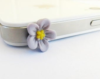 Purple Flower Cellphone / iPhone Universal Dust Plug- Anti-Dust Plug For Headphone Jack