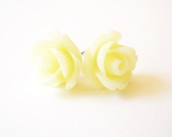 Pale Yellow Rose Stud Earrings- Surgical Steel or Titanium Post Earrings- 10mmBlack Friday Sale 20% Off