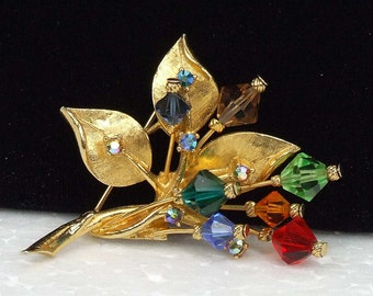 Vintage Retro Colorful Signed Art Brooch Rhinestone and Multicolored Prism Colored Glass Beads Goldtone Leaves ATCTTEAM