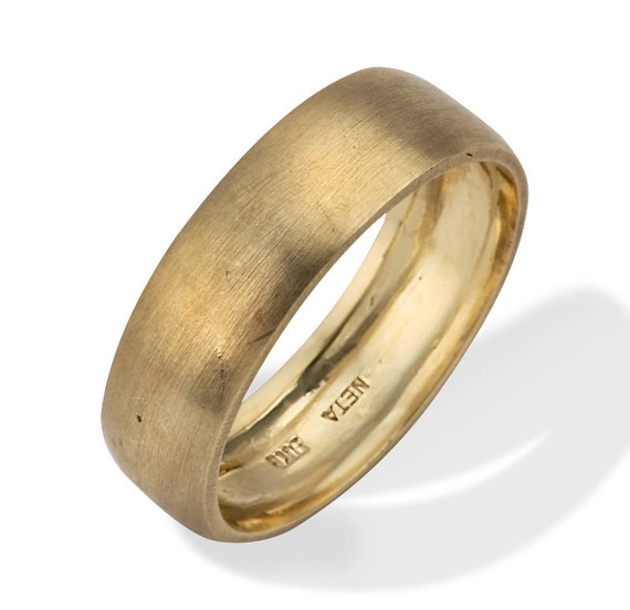 Wide Wedding Band Personalized Engraved 18K Gold Wedding