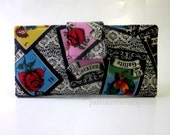 Handmade women wallet - Loteria card game - cream lace black background - purse clutch
