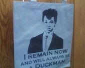 Pretty in Pink Duckie tote bag stencil and spray paint art by Rainbow Alternative on Etsy