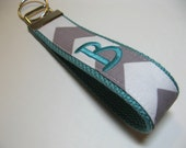 Design Your Own - Monogrammed Chevron Keychain - Grey White Aqua Key Fob