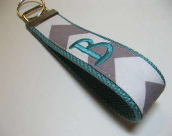 Design Your Own - Monogrammed Chevron Keychain - Grey White Aqua Key Fob
