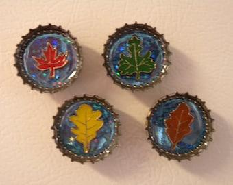 SALE - Seasons Magnets - Set of Four Resin Bottle Caps