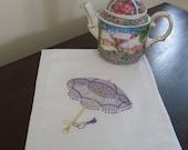 Flour Sack Towel / Quilt Block - Parasol / Umbrella Embroidery Design
