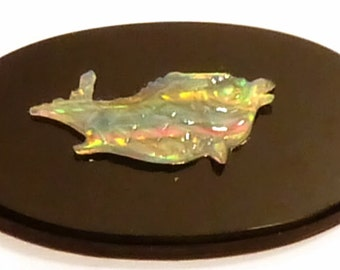 Opal Cameo Cabochon - Hand Carved Historical Stylized Dolphin - Unusual and Beautiful
