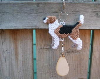 Harrier crate tag dog art hang anywhere hand stitched original art by canine artisan, Magnet option