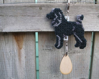 Poodle sporting Clip crate tag miniature, standard crate tag - art dog hang anywhere hanger, Magnet option
