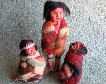 Skookum Native American Composition Doll Family