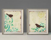 Love Bird Wall Decor Prints, Cottage Chic Shabby, Large Prints, Set of Two, 11 x 14 inches