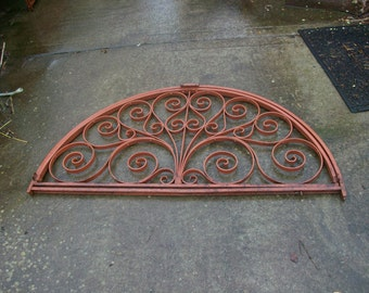 Antique Ornate hinged Hand Wrought Iron Opening Arched Window Grate, Grille