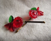 Glass Bead Bobby Pins- Wildflower