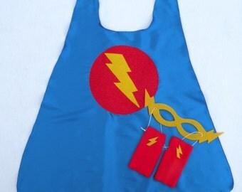 Childrens Super Hero Cape PLUS 2 Accessories - birthday boy gift - Kid hero costume