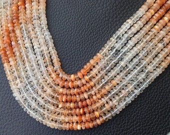 AAA Quality ,8 inch Strand,,Gorgeous Sparking Shaded ORANGE SUNSTONE Faceted Rondelles,5-5.5mm Long,Great Price Item