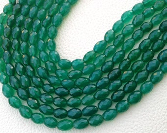 Brand New, Full 8 Inch Strand, GREEN ONYX Faceted Oval Nuggets,Superb Item,9-10mm Size,Amazing Rare Color