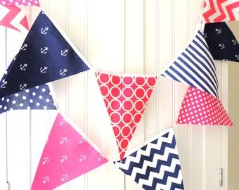 Bunting, Banner, Fabric Pennant Flags, Nautical Wedding, Navy Blue, Pink, Anchors, Chevron, Baby Nursery Decor, Birthday Garland Decor