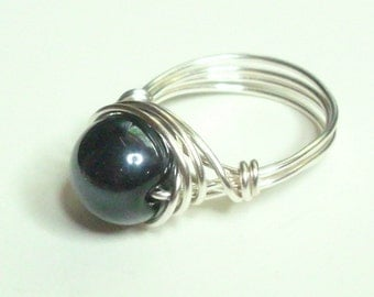 Black and Silver Plate Wire Wrapped Ring Sizes 3-14