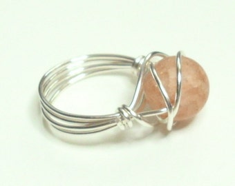 Peach Crackle Matte Silver Handmade Wire Wrapped Ring Sizes 1-14