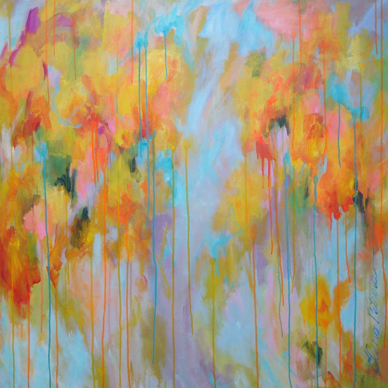 ELENA abstract painting huge 40x40 contemporary by ...