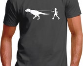 Girl Walking Dinosaur Mens T-Shirt