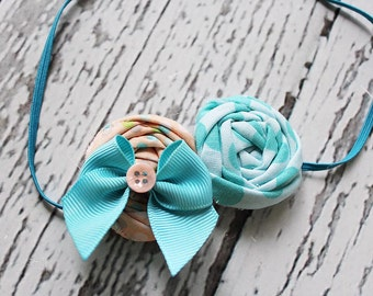 Benefit of the Dot-- double rosette with bow headband