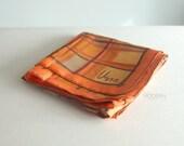 Vera Neumann Orange Brown Plaid Scarf