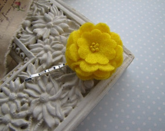 Yellow . bobby pin . felt flower . girls hair accessory