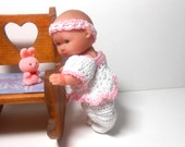 Doll in Pink and White Hand Crocheted Romper, Berenguer Lots to Love Doll, Doll Clothes, 5 Inch Doll