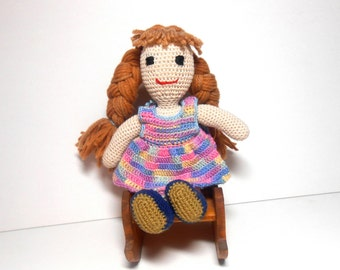 Crocheted Doll Multi Colored Dress