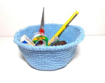 Bowl Blue Hand Crocheted