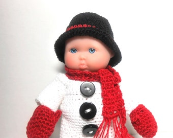 Snowman Doll, 5 Inch Snowman Doll, Red Mittens and Scarf, Berenguer Snowman Doll, Christmas Doll