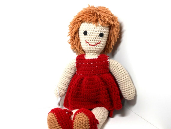 Crochet Hair Doll : Crocheted Doll, Shaggy Hair Doll, Red Crocheted Dress, Amigurumi Doll ...