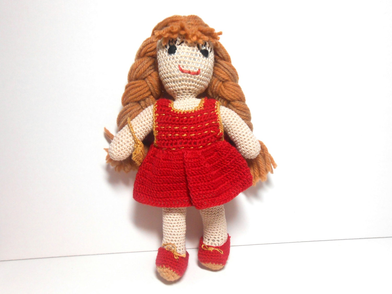 Amigurumi Doll Hands : Hand Crocheted Doll Red Dress Doll With Purse Amigurumi