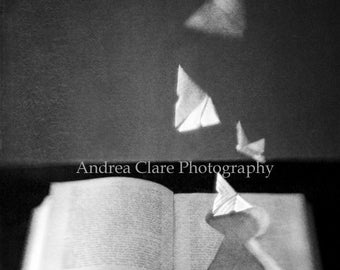 Book Photograph, Key Hole, Butterflies, Fine Art Photograph, Black and White, Gothic, origami, book photo, print, wall decor, surreal, paper
